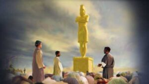 El Rey Nabucodonosor levanta una estatua de un dios pagano
